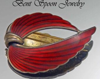 Vintage Norway Sterling Red Enamel Modernist Wing Brooch By Albert Scharning