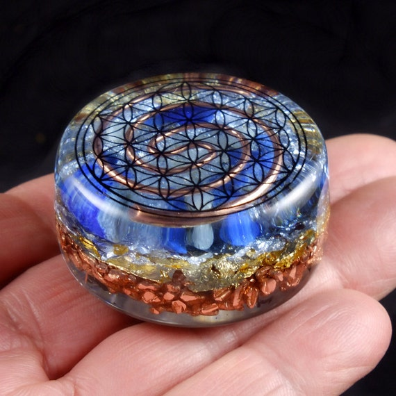 Flower Of Life Orgonite  Orgone Energy Generator. Tibetan Crystal, SBB Coil, Lapis Lazuli, Selenite, Rhodizite, Phenacite, Tourmaline (787)