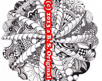 Hand Drawn Zentangle Inspired Flat Note Cards #04