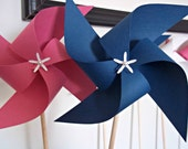 Nautical Paper Pinwheels. Pink, White & Navy Blue. Party Favors. Baby Shower, Birthday. (set of 6)