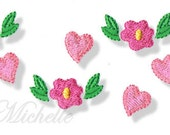Hearts and Flowers Sizes, Machine Embroidery