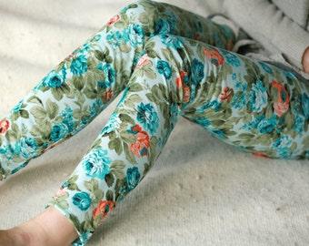 CLEARANCE SALE - Blue and orange peony leggings