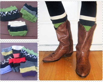 Boot Cuffs Boot Socks Boot Toppers for Game Day - Seahawks Sounders Seattle Green and Navy