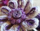 Handmade French Knit Flower Brooch with handmade polymer clay button -  Grey and Purple - Merino Wool - Great Birthday Gift