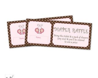INSTANT DOWNLOAD Brown Pink Butterfly Diaper Baby Shower Tickets - Polka Dots Raffle Tickets Baby Shower Games Party Favors Party Items