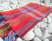 Turkishtowel-Hand woven,20/2 cotton warp and weft Rainbow,Diamond Turkish Bath,Beach Towel-Red,Pink