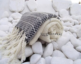 Turkishtowel-2014 Summer Collection-Hand woven,20/2 cotton warp and weft,Zigzag,Turkish Bath,Beach Towel-Natural cream and Black stripes