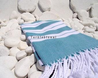 Turkishtowel-2014 Summer Collection-Hand woven,20/2 cotton warp and weft,Turkish Bath,Beach,Fouta Towel- Teal Green, White