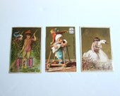 Ad Trade Cards, Victorian Golden Backgrounds, Set of Three