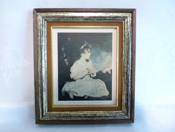 Vintage Wedgefield Pictures Blue Art in Gilded Frame The Age of Innocence by Sir Joshua Reynolds Print Reproduction
