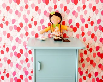 Sarah Jane BalloonsWALLPAPER - Removable, Re-usable, FABRIC, Eco-Friendly, Non-Toxic.  No Mess. No Glue Pop & Lolli