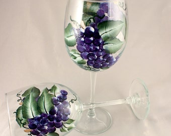 Hand Painted Wine Glasses, Purple Grapes