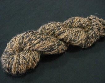 SALE***20% Off Original Price - Handspun Alpaca Yarn - Black and Brown - Bulky Weight