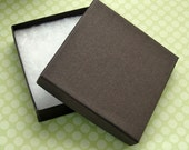 10 High Quality Matte Chocolate Brown Jewelry Boxes Cotton Filled 3.5 x 3.5 x 7/8 inch - Large