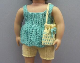 American Girl Dolls Summer Top, Shorts, Sun Visor and Shoulder Bag