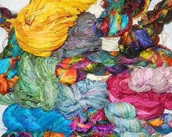 HURRY - 700g Recycled Sari Silk Ribbon Yarn,455 yards,  free shipping Grab Bag