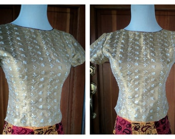 Vintage Crop Top Embroidered Gold Metallic Textured Gypsy Bohemian Blouse 30 B XS