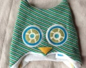 "Hoo Hat -Upcycled Felted Wool Owl Hat -Green & Teal Striped Lambswool -Size Medium (18.5-20.75"" head)"