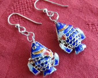Wiggly Sunfish Earrings in Cloisonne w Sterling