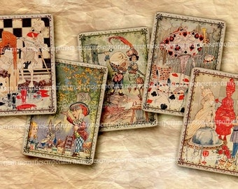 Alice in Wonderland & Through The Looking Glass Antique Victorian Swap Playing Cards for DIY Gift Cards Swing Tags Adventures Decoupage 482