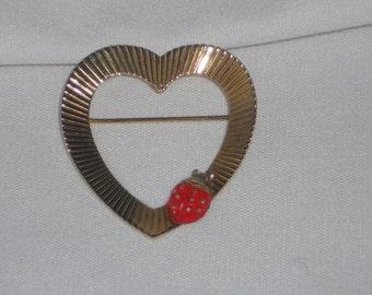 Vintage Napier Sterling Silver Vermeil Heart Brooch with Enamel Ladybug