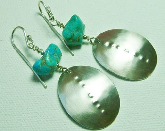 Sterling Silver Turquoise Earrings Large