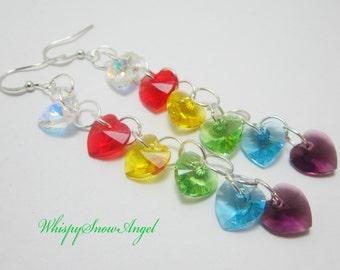 Rainbow Swarovski Heart Stacked Earrings Dangle Sterling Silver Hooks