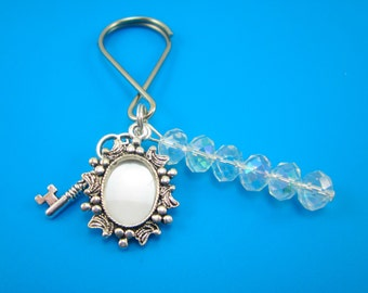 Silver Oval Photo Frame Keychain with Key Charm and Clear AB Crystal Rondelles