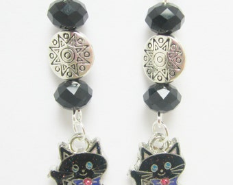 Black Cat Earrings Enamel Kitty Charms Black Silver Beads Sterling Silver Earring Hooks Halloween Earrings