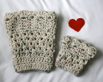 Mommy and me boot cuff bundle made in oatmeal, cream, gray or any other desired color