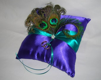 Peacock Wedding Ring Bearer Pillow, Royal Purple Satin With Peacock Eye Feathers and a Crystal Center
