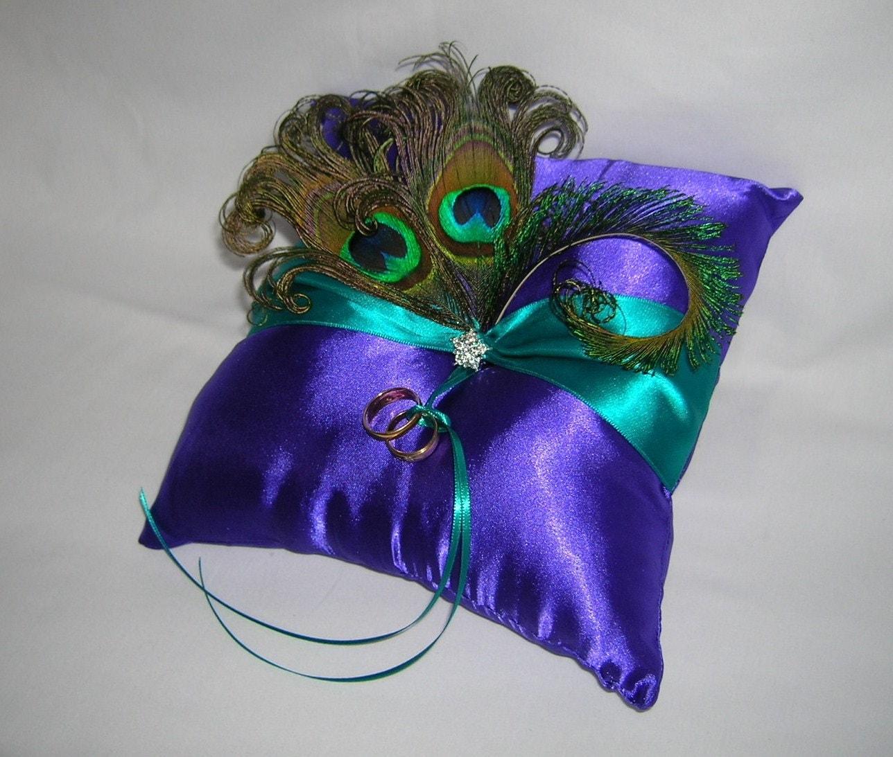 peacock wedding ring bearer pillow royal purple satin with