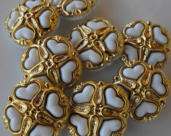 "10 Gold with White Hearts Square Shank Buttons Size 7/8""."
