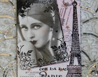 French Paris Flapper Girl Collage Decorative Plaque Sign