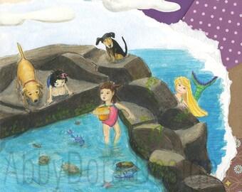 Tide Pool, Girls, Dogs, Mermaid, Crabs, Shells, Sea, Ocean, Aquamarine, Purple, Children's Art,