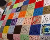 Handmade Multicolored Patchwork Crochet Blanket Bedspread Single Double 2m x 1.6m (78.74inches x 62.99inches)