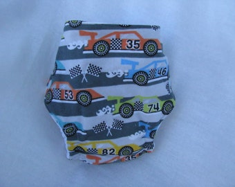 Colorful Racecars Fitted Diaper Size Small