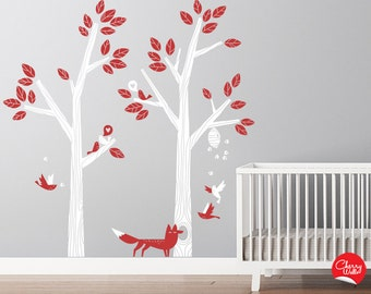 Tree Decals for Modern Nursery. Lovely Birds Singing for your baby. Little fox decal