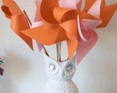 Orange and Pink Decor Baby Shower Favors Wedding Favors Decor Birthday Favors - 6 Large Paper Pinwheels