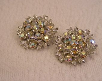Vintage Aurora Borealis Rhinestone Cluster Earrings, Clip On Rhinestone Earrings
