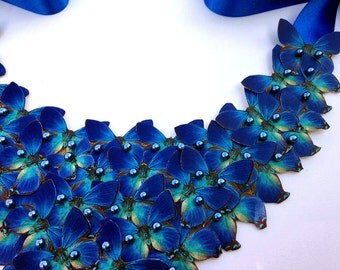 Butterfly Bib Necklace Blue Statement Romantic