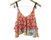 Daisy over Trippy Print 2 Tier Floaty Chiffon Low Back Crop Camisole Handmade Sample sold as is Prototype