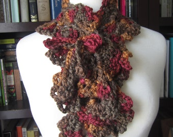Brown and Red Crochet Scarf brown scarf, womens scarf, scarflette, lace scarf, crochet cowl,lace cowl,brown cowl,scarflette,earth tone scarf