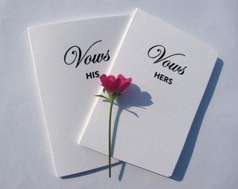 Vow Books, Wedding, Keepsake, Bride and Groom Vows, His and Hers, Wedding Day Gift, Wedding Vows, Bridal Vows, ceremony vow