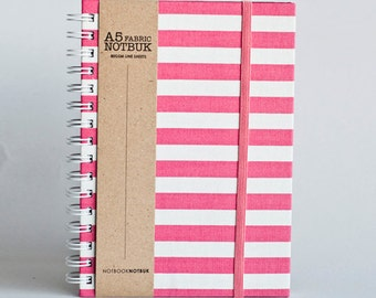 Notebook with Elastic Band Closure, Fabric Wrapped (A5 Size) - Pink Bold (choose from line / blank sheets)
