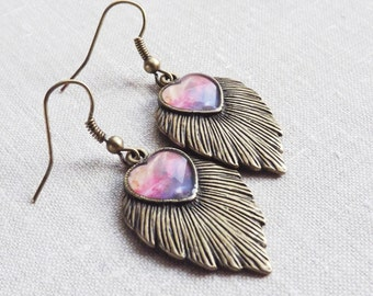Leaf Dangle Earrings Galaxy Nebula Earrings Heart Earrings Valentines day Earrings Jewelry