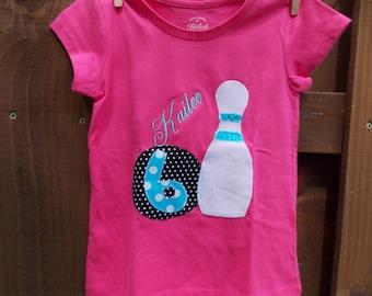 Custom Girls/Boys Bowling Birthday Shirt Personalized  Bowling Pin shirt