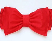 Cherry red lycra Swim Fabric Bow Bandeau with Padding