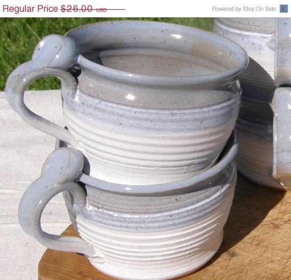 ON SALE Stoneware Pottery Handled Soup Bowl - Light Blue and White Glaze