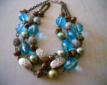 Copper and Blue Glass Bead Bracelet - Ocean Blues and Browns - Triple Strand Beaded Bracelet from Vintage Beads